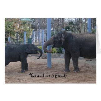 best friend funny birthday card, playing elephants card
