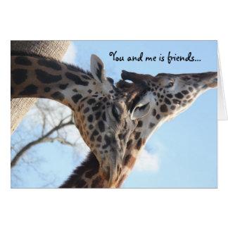 best friend funny birthday card, talking giraffes greeting card