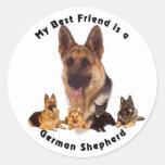 Best Friend German Shepherd Round Stickers