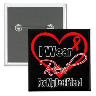 Best Friend - I Wear a Red Heart Ribbon Button
