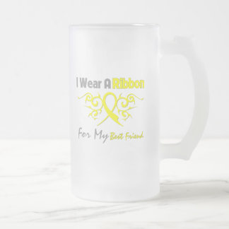 Best Friend - I Wear A Yellow Ribbon Military Supp Frosted Glass Beer Mug