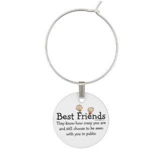 Best Friend Knows Wine Glass Charm
