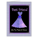 BEST FRIEND - Maid of Honor Purple Gown Plaid Trim Greeting Cards