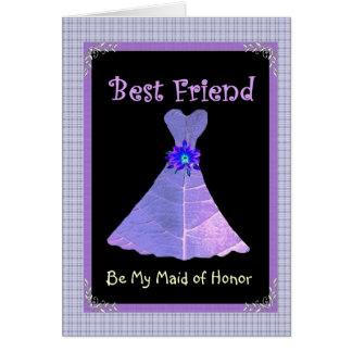 BEST FRIEND - Maid of Honor Purple Gown Plaid Trim Card
