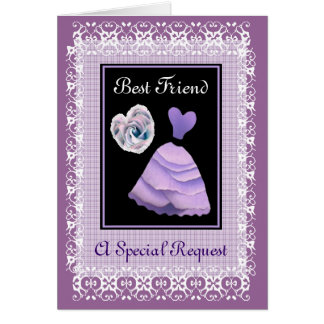 BEST FRIEND Matron of Honor -  PURPLE Gown Card