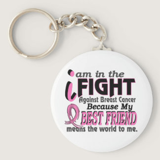 Best Friend Means The World To Me Breast Cancer Keychain