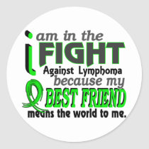 Best Friend Means The World To Me Lymphoma Classic Round Sticker