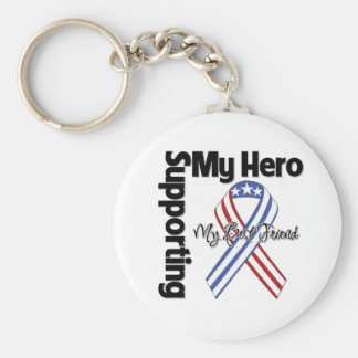 Best Friend - Military Supporting My Hero Basic Round Button Keychain