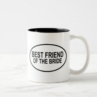 Best Friend of the Bride Black Wedding Oval Two-Tone Coffee Mug