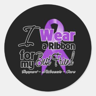 Best Friend - Pancreatic Cancer Ribbon Classic Round Sticker