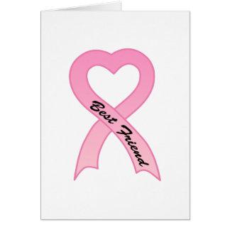 Best Friend Pink Ribbon Greeting Card