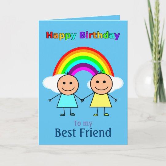 Best Friend Rainbow Personalized Birthday Card Zazzle
