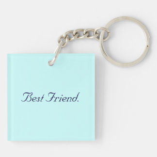 Best Friend Rose Key Chain. Double-Sided Square Acrylic Keychain