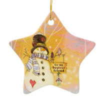 Best Friend Snowman Star Ornament