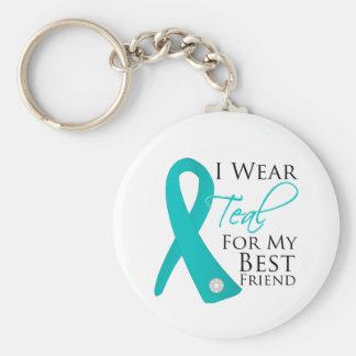 Best Friend - Teal Ribbon Ovarian Cancer Basic Round Button Keychain