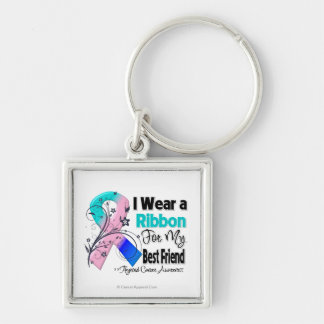 Best Friend - Thyroid Cancer Ribbon Silver-Colored Square Keychain