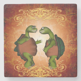 Best friend, Turtles talk to each other Stone Coaster