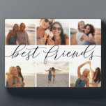 """Best Friends 6 Photo Collage Plaque<br><div class=""""desc"""">Commemorate a friendship with this beautiful photo collage plaque featuring 6 favorite photos,  with """"best friends"""" in the center in black hand lettered calligraphy script lettering.</div>"""