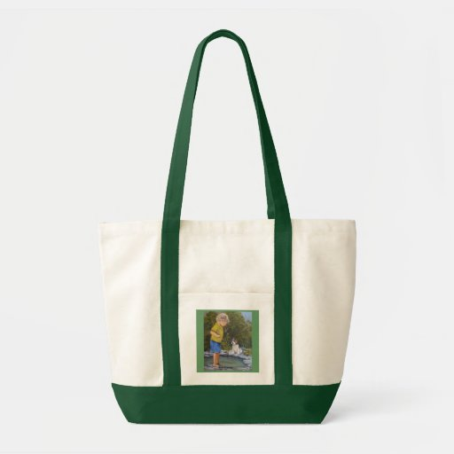 Best Friends a child and his dog at play Canvas Bag