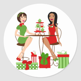 Best Friends and Cupcakes at Christmas! Classic Round Sticker