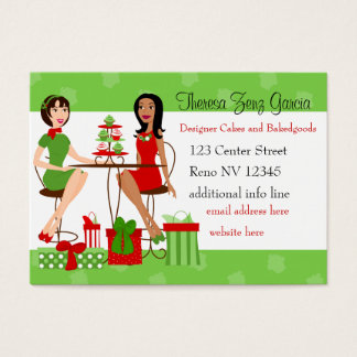 Best Friends and Cupcakes Christmas Business Card