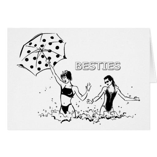 Best Friends at the Beach Card