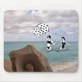 Best Friends at the Beach Seashell Mouse Pad