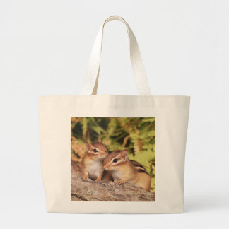 Best Friends Baby Chipmunks Large Tote Bag