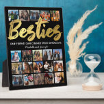 """Best Friends   Besties Photo Collage Plaque<br><div class=""""desc"""">Personalized best friends fleecy picture plaque featuring a trendy black background that can be changed to any color,  the word """"besties"""" in a faux gold foil script font,  a friendship quote,  your names,  and a 20 square photo collage template for you to customize to your own.</div>"""