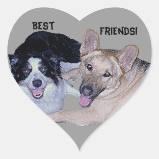 Best Friends Border Collie & German Shepherd Heart Sticker