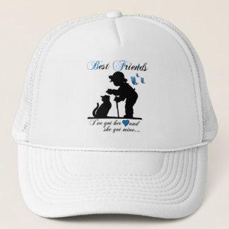 Best friends boy and cat trucker hat