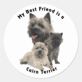 Best Friends Cairn Terrier Round Stickers