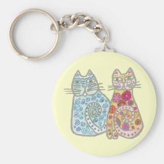Best Friends Cat Design Basic Round Button Keychain