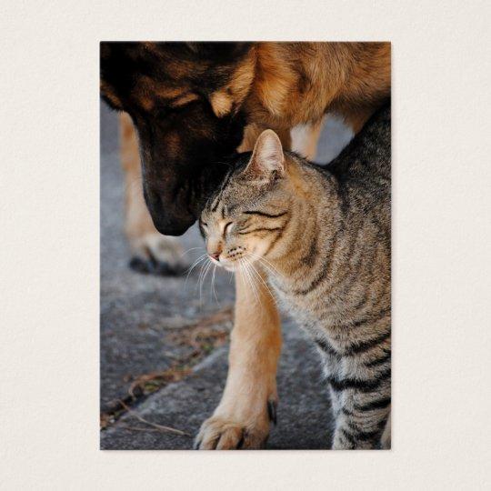 Best Friends- Cat & German Shepherd Business Cards