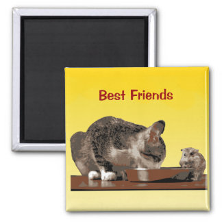 Best Friends Cat & Mouse Sharing Food Bowl 2 Inch Square Magnet