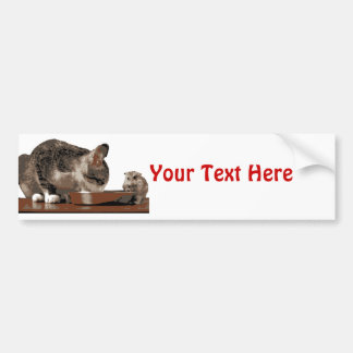 Best Friends Cat & Mouse Sharing Food Bowl Bumper Sticker