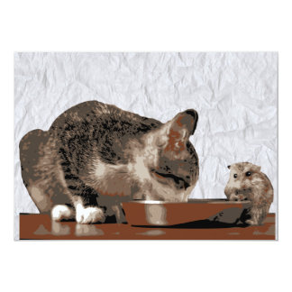 Best Friends Cat & Mouse Sharing Food Bowl Card