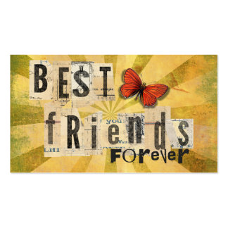 Best Friends Collage Word Cutout Vintage Butterfly Business Card Templates