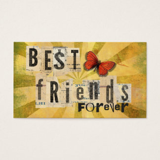 Best Friends Collage Word Cutout Vintage Butterfly Business Card