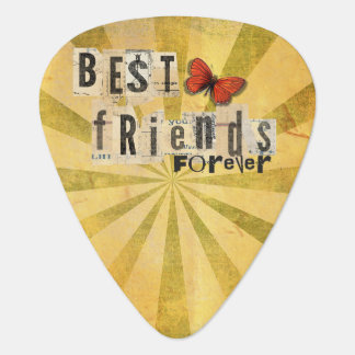Best Friends Collage Word Cutout Vintage Butterfly Guitar Pick
