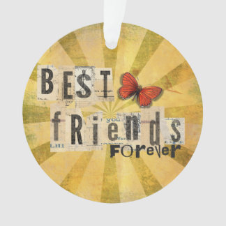 Best Friends Collage Word Cutout Vintage Butterfly Ornament