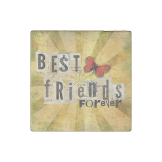 Best Friends Collage Word Cutout Vintage Butterfly Stone Magnet