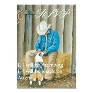 Best Friends ~ Cowboy & Australian Shepherd 3.5x5 Paper Invitation Card