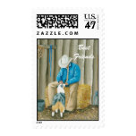 Best Friends ~ Cowboy & Australian Shepherd Postage Stamp