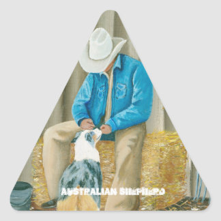 Best Friends ~ Cowboy & Australian Shepherd Triangle Sticker