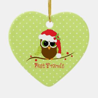Best Friends Cute Christmas Owl Heart Ornament