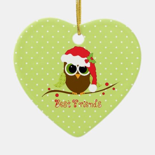 Best Friends Cute Christmas Owl Heart Ornament | Zazzle.com
