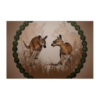 Best friends, cute kangaroos acrylic wall art