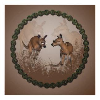 Best friends, cute kangaroos panel wall art
