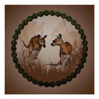 Best friends, cute kangaroos poster